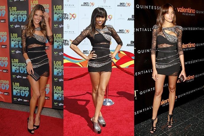 Remember grungy Balmain back in the day? Celebs couldn't get enough of the lace-zippers-beading-slashes combo, and Alessandra Ambrosio, LeToya Luckett and Selita Ebanks were no exception.