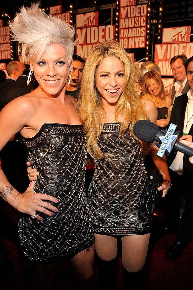 Remember this? Pink and Sharika wore the same Balmain dress to the VMAs a while back, but they were good sports about it.