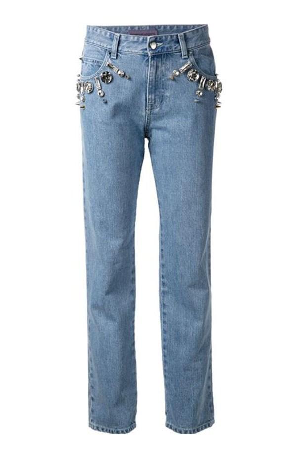 "Jean, $435, Emanuel Ungaro, <a href=""http://www.farfetch.com/au/shopping/women/emanuel-ungaro-embellished-jeans-item-10922596.aspx?storeid=9442&ffref=lp_64_2_""></a>"