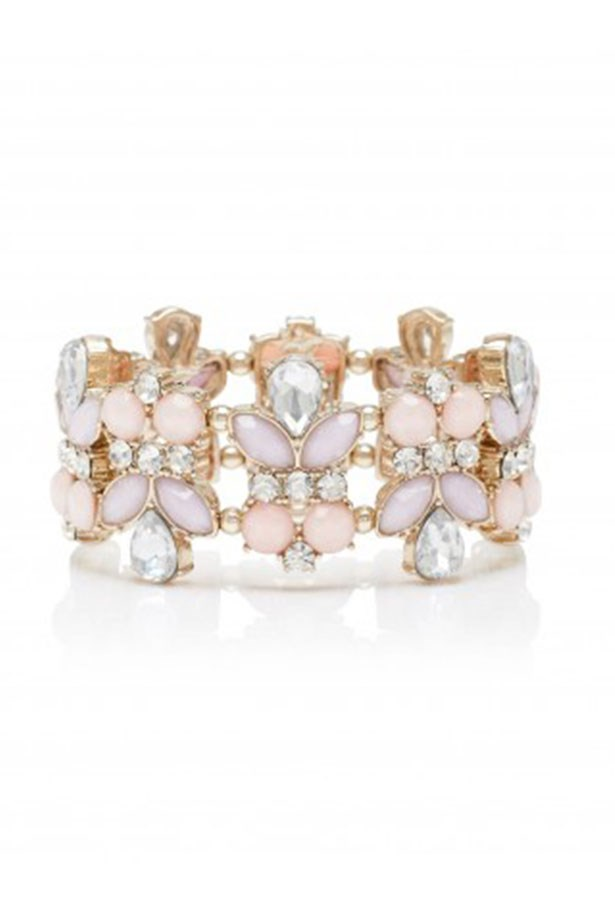 "Cuff, $17, Forever New, <a href=""http://www.forevernew.com.au/jamie-mixed-stone-stretch-bracelet-2023264801006""></a>"