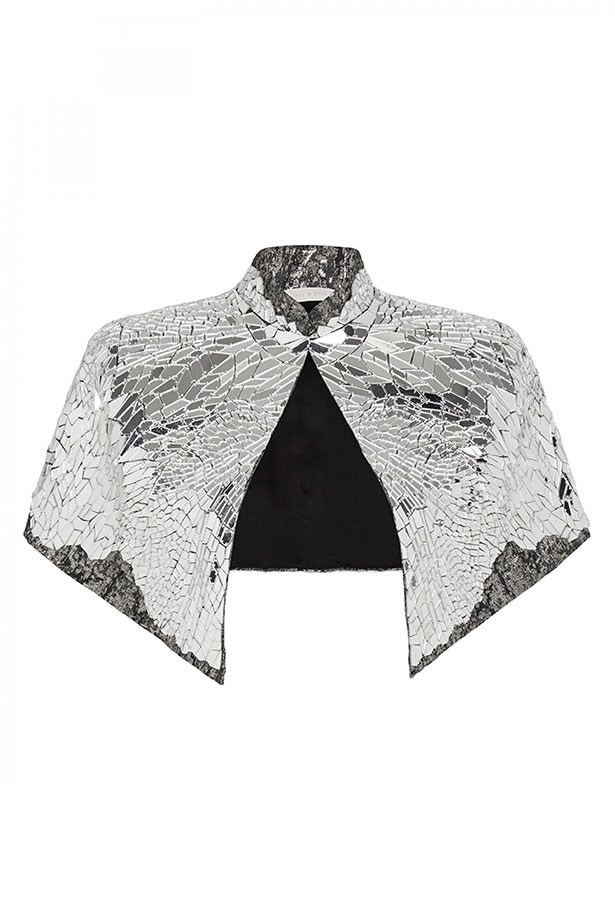 "Capelet, $1,500, Sass & Bide, <a href=""https://www.sassandbide.com/au/products/blistering-astonishment-silver""></a>"