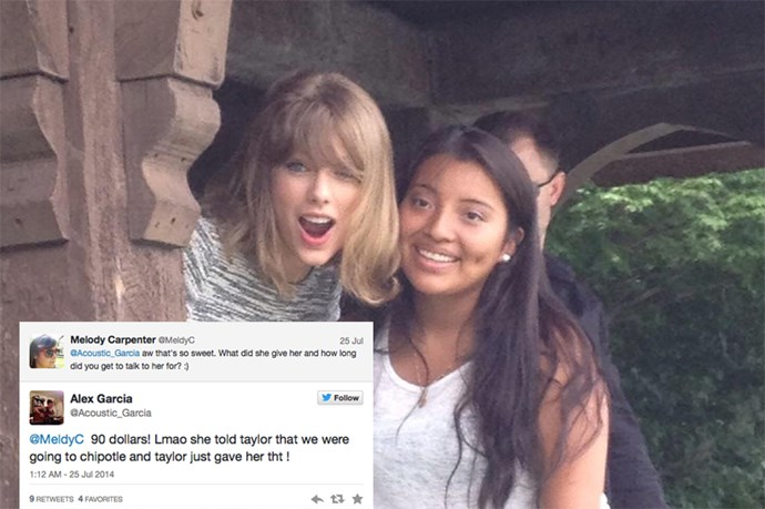It started out as your usual, casual boat ride through central park but when these unsuspecting fans pulled up to shore and Taylor's hand reached out to help them up, they naturally flipped out. Upon finding out that it was one of their birthdays; Taylor gave them the gift of selfies and some cash for Chipotle. No doubt they splurged on extra guacamole that day.