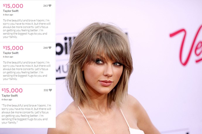 """In June, 2015, she donated $50,000 to an 11-year-old fan named Naomi who was unable to attend her concert as she was undergoing Leukaemia treatment. """"To the beautiful and brave Naomi,"""" Swift wrote, """"I'm sorry you have to miss it, but there will always be more concerts. Let's focus on getting you feeling better. I'm sending the biggest hugs to you and your family."""""""