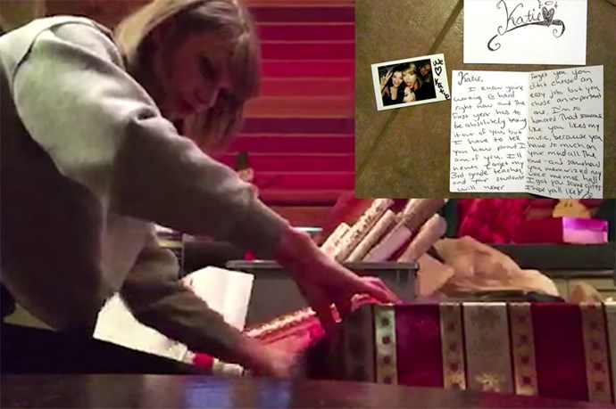 Last Christmas, Taylor took to Tumblr to get to know a few of her fans more personally. She then put together some very special, handpicked gifts and delivered them to the doorsteps of these lucky fans for Christmas, or as she calls it #Swiftmas.