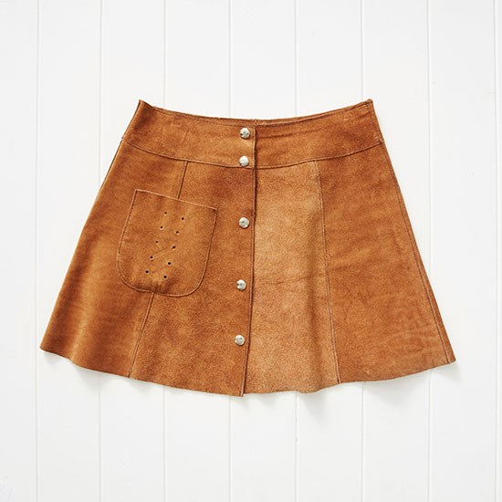 "I bought this vintage suede skirt at Episode in Amsterdam and have been wearing it with black opaque tights. Skirt, €25, Episode, <a href=""http://www.episode.eu"">episode.eu</a>"