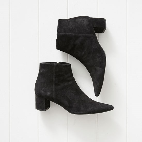 "These suede boots have the perfect block heel. I feel polished but can still run around in them on a busy day of shoot prep. Boots, $265, Senso, <a href=""http://senso.com.au/collections/women/products/paloma-i"">senso.com.au</a>"