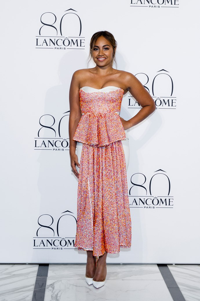 Jessica Mauboy wearing Toni Maticevski at Lancôme's glamorous 80th anniversary party held at the The Langham Sydney.