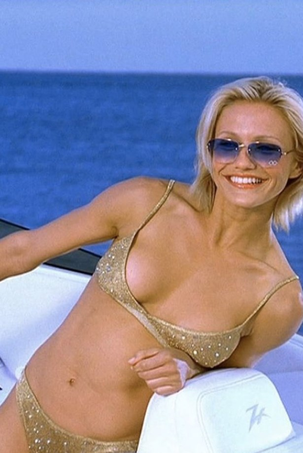 Cameron Diaz in a tiny gold bikini = what dreams are made of.