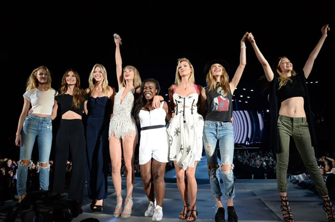 <p><strong>WITH CANDICE SWANEPOEL, LILY ALDRIDGE, MARTHA HUNT, UZO ADUBA, KARLIE KLOSS, BEHATI PRINSLOO, AND GIGI HADID</strong></p> <p>In East Rutherford, New Jersey, on July 11, 2015.</p>