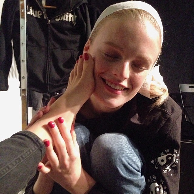<p>Blessing this beautiful birthday angel with my feet. Happy birthday @hannegabysees</p>