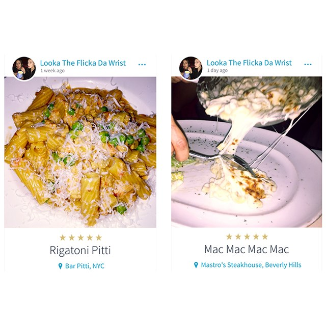 <p>The 18-year-old model who goes under a fake name on the app LOVES her pasta dishes.</p>