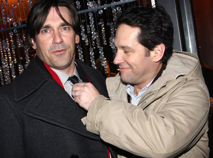 JON HAMM AND PAUL RUDD. Trivial Pursuit-battling bros.