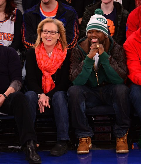 MERYL STREEP AND 50 CENT. Epic gangsta friends.