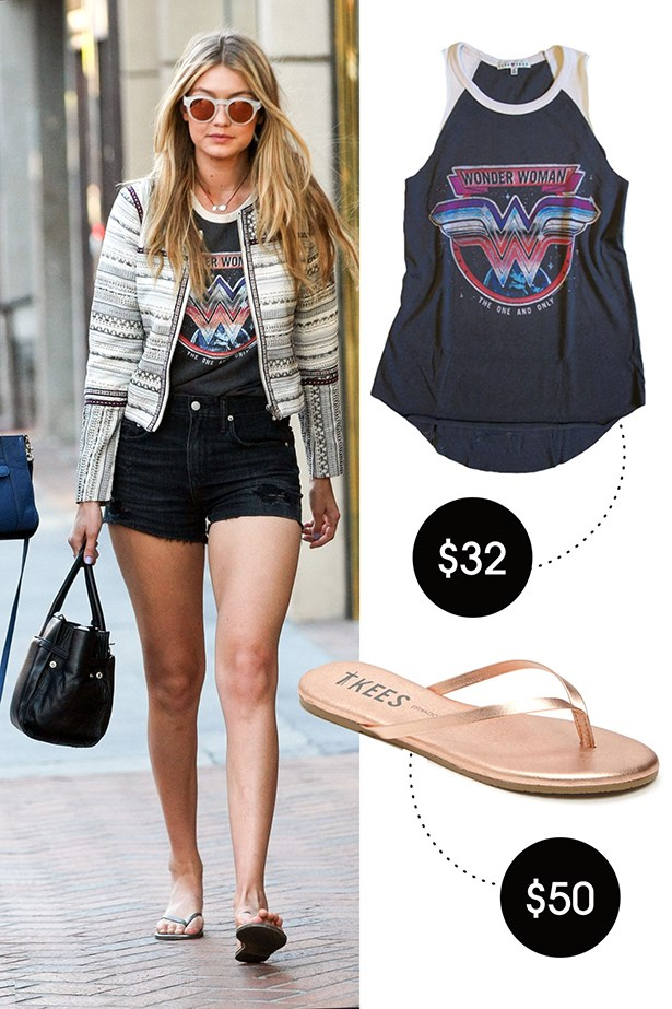 Junkfood Clothing Wonder Woman Raglan Tank, $32; teenytee.com TKEES Highlighters Flip Flop, $50; nordstrom.com