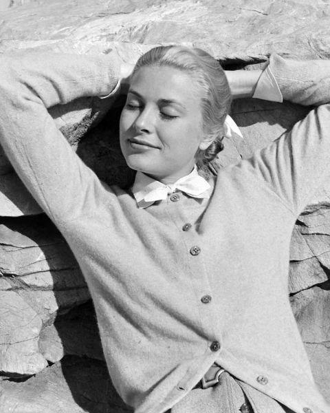 3.Reclining in a cardigan in 1955.