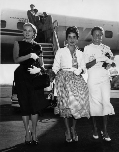 9.	Arriving at New York International Airport with Elizabeth Taylor and Lorraine Day in 1955.