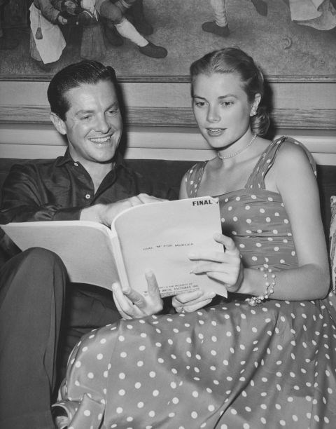 Reading through the script ofDial M for Murder with Robert Cummings in 1954.