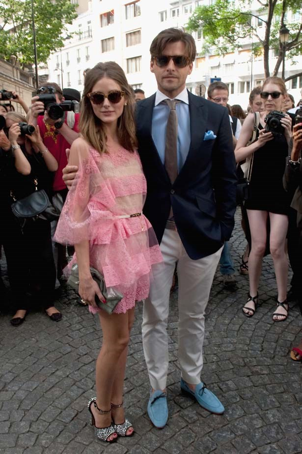 <p>July 04, 2012</p> <p>Olivia Palermo and Johannes Huebl attend the Valentino Haute Couture AW13 Show.</p>