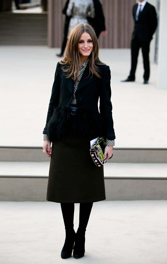 <p>February 18, 2013</p> <p>Olivia Palermo attends the Burberry Prorsum show during London Fashion Week AW13-14.</p>