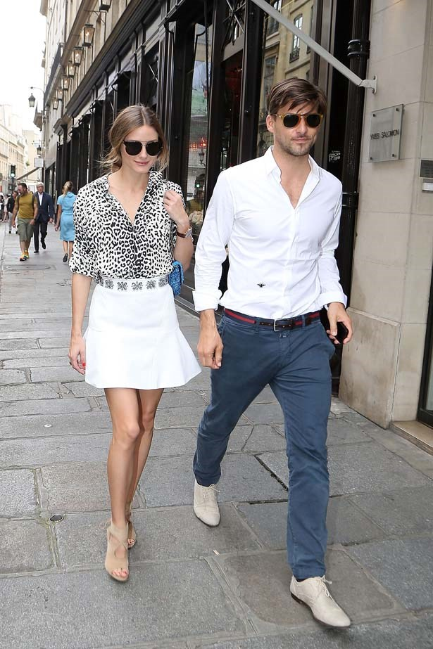 <p>July 02, 2013</p> <p>Olivia Palermo and Johannes Huebl are seen strolling on the Rue Saint Honore in Paris.</p>