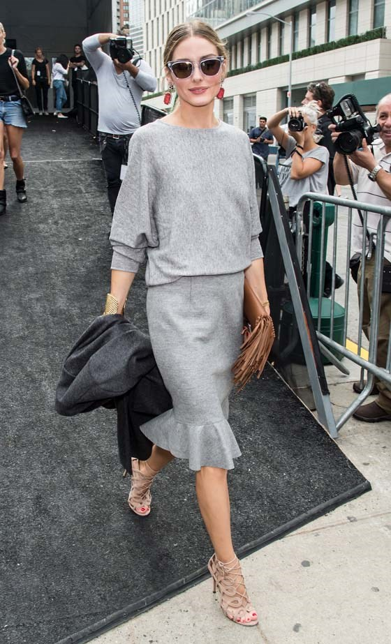 <p>September 08, 2014</p> <p>Olivia Palermo is seen at the Carolina Herrera fashion show during Mercedes-Benz Fashion Week Spring 2015.</p>