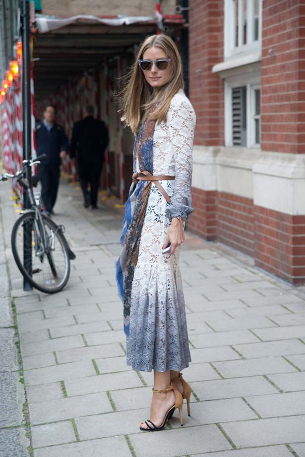 <p>September 15, 2014</p> <p>Olivia Palermo is wearing a Burberry Prosum dress, Westward Leaning sunglasses, CH Herrera scarf, Max and Co belt and Schutz heels in London during Fashion Week.</p>