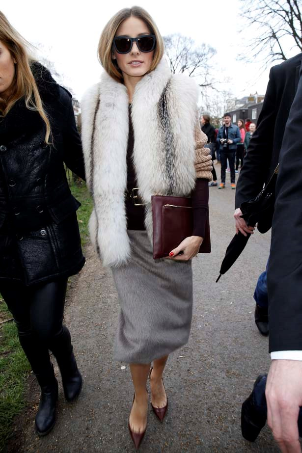 <p>February 17, 2014</p> <p>Olivia Palermo is sighted arriving at Burberry Prorsum A/W 2014 held at Perks Field during London Fashion Week.</p>