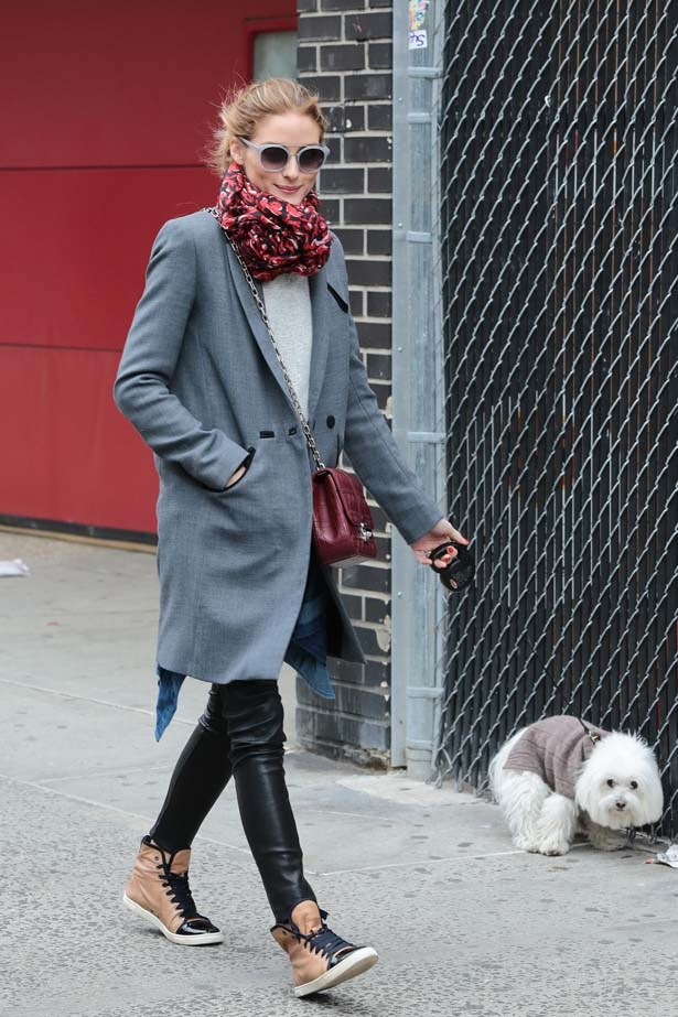 <p>April 26, 2015</p> <p>Olivia Palermo walking her dog in New York City.</p>