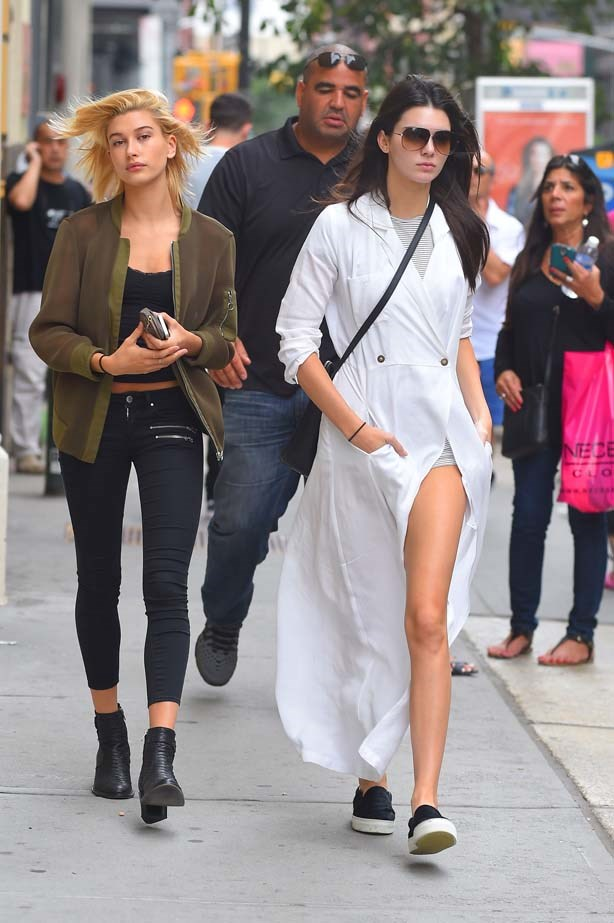 <p>August 30, 2014</p> <p>Kendall Jenner and close pal Hailey Baldwin in New York together.</p>