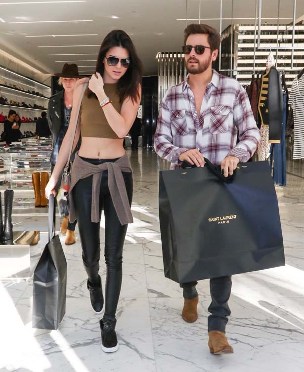 <p>December 23, 2014</p> <p>Kendall Jenner and Scott Disick shopping in Saint Laurent in LA.</p>