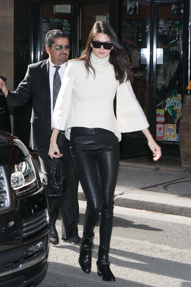 <p>March 06, 2015</p> <p>Kendall Jenner wearing a chunky knit and leather leggings in Paris.</p>