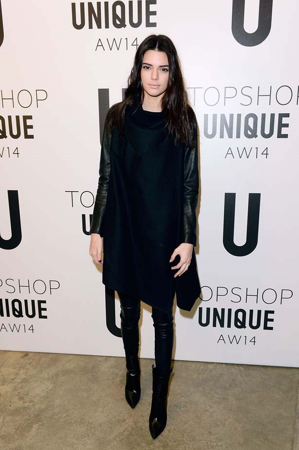 <p>February 16, 2014</p> <p>Kendall Jenner attends the Topshop Unique show at London Fashion Week AW14 at Tate Modern in London.</p>