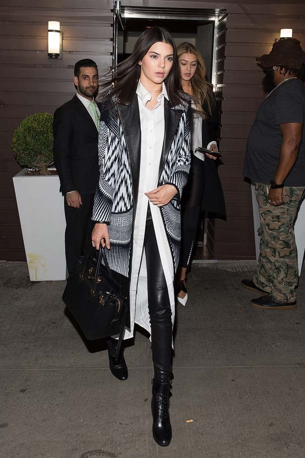 <p>April 26, 2015</p> <p>Kendall Jenner and close friend Gigi Hadid attends Gigi Hadid's Birthday Party at Red Stixs in New York.</p>