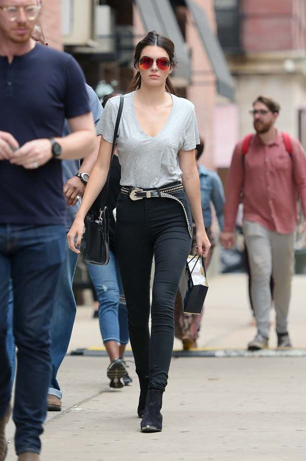 <p>June 18, 2015</p> <p>Kendall Jenner makes a statement in reflective sunnies in Soho.</p>