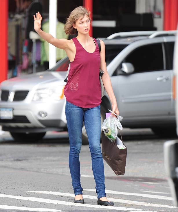 See left: How to look chic while hailing a taxi.