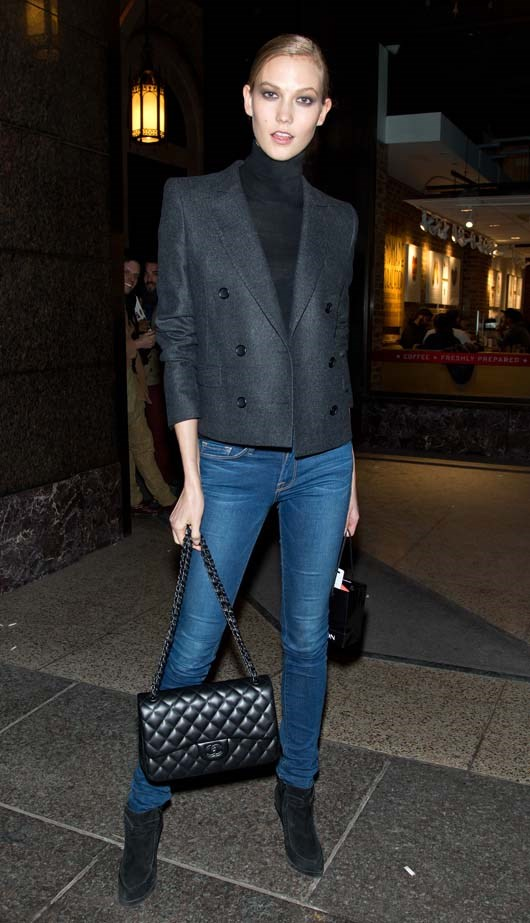Kloss flaunts her perfectly tailored blazer.