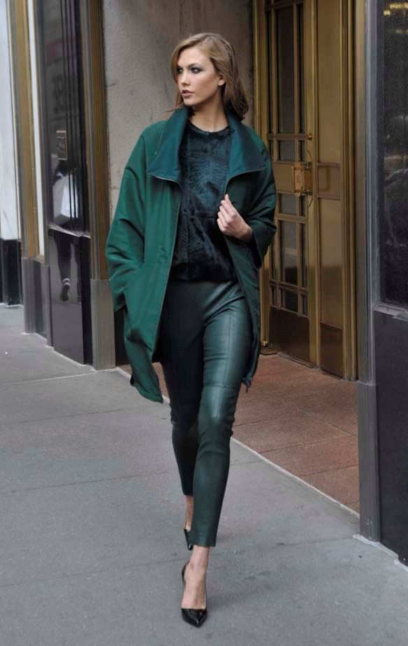 Head-to-toe forest green.