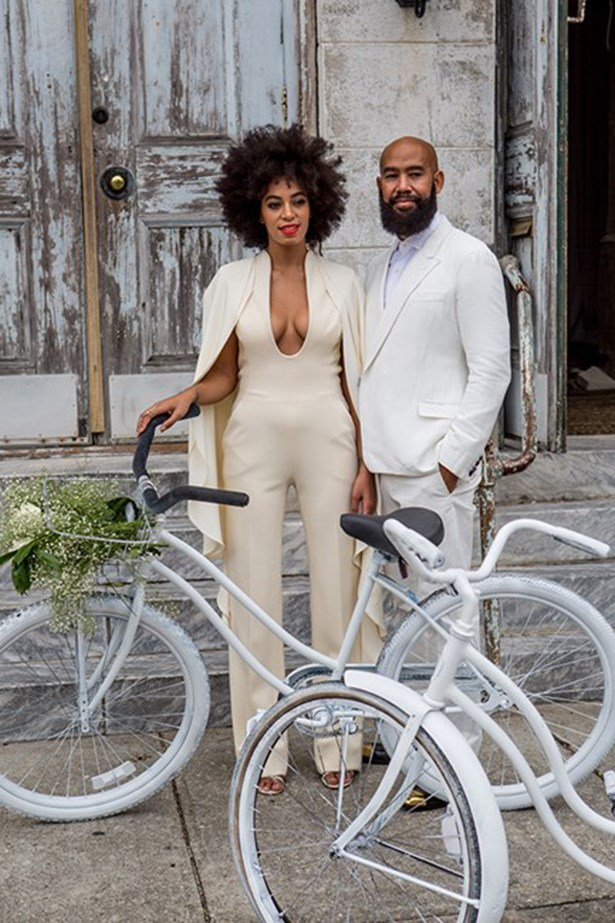 All about Solange Knowles ivory jumpsuit from Stephane Rollande for her wedding. Knowles later changed into a column dress by Humberto Leon for Kenzo.