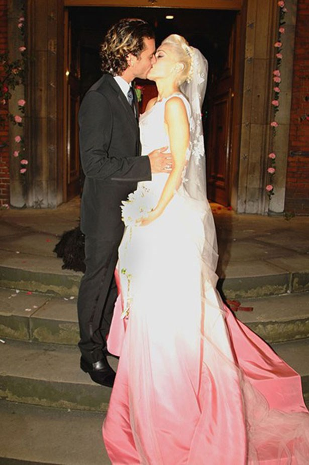 Gwen Stefani wore pink John Galliano for Dior for her 2002 wedding to Gavin Rossdale.