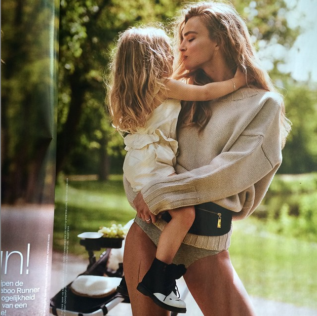 Ymre Stiekema with her daughter, Lymée, in Vogue Netherlands, via Ymre's Instagram.