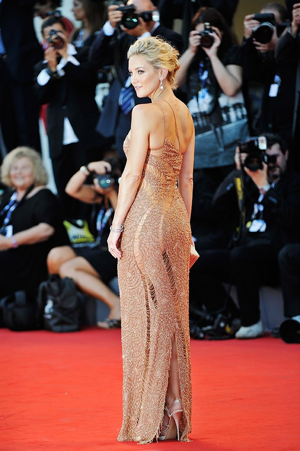 "Although not quite ""naked"", Kate Hudson did subtle in Versace Atelier in 2012."