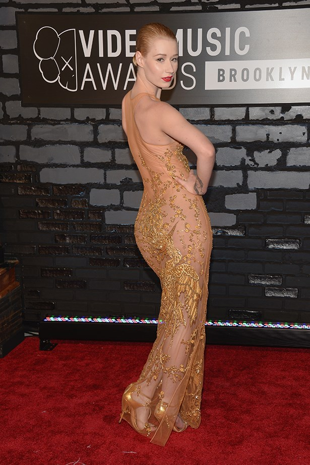 Iggy Azelea tried her hand at the naked dress at the VMAs earlier.