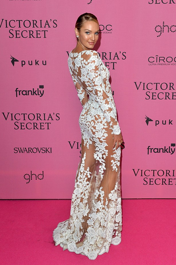 Candice Swanepoel wore her naked Zuhair Murad dress to the Victoria's Secret Fashion Show after-party. Where else?