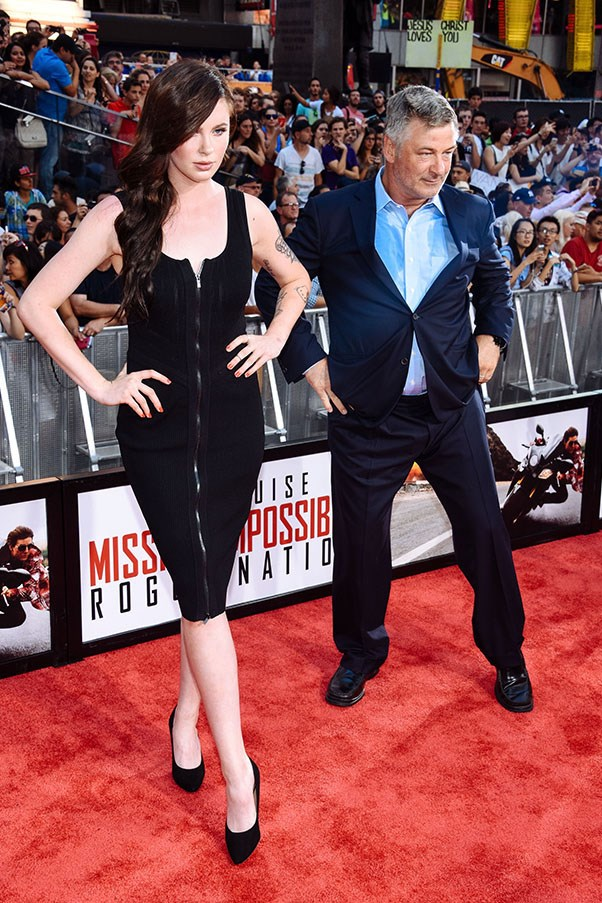 Alec Baldwin and Ireland Baldwin have a pose-off on the red carpet