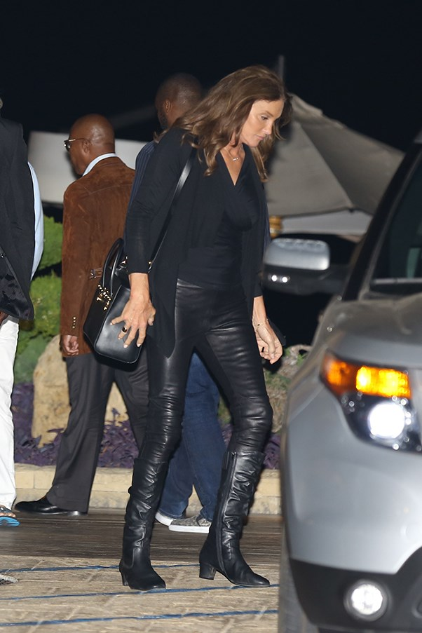 Caitlyn went to dinner with friend, Naomi Watts, wearing leather pants, a silk top and black boots.