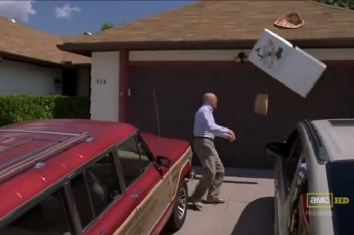 """BREAKING BAD - The classic """"Pizza"""" moment wasn't even meant to happen. Bryan Cranston just got a little carried away."""