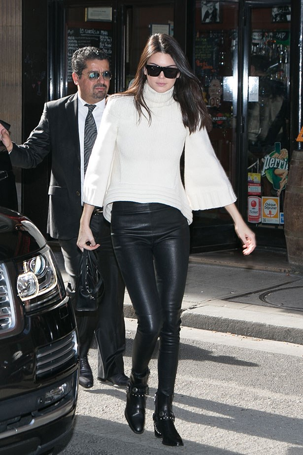 "<p>Kendall Jenner lives in her <a href=""https://www.shopbop.com/stretch-leather-pant-helmut-lang/vp/v=1/845524441913000.htm"">Helmut Lang leather leggings</a> and <a href=""http://www.farfetch.com/au/shopping/item10898637.aspx"">Saint Laurent Wyatt boots</a>.</p>"