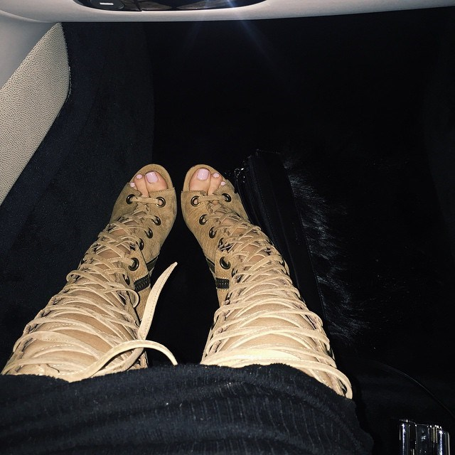 """<p><strong>You, in shoe form?</strong></p> <p>Kylie: """"I'm a lace-up thigh-high.""""</p>"""