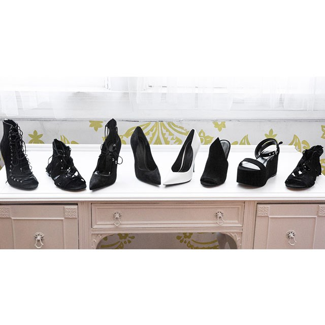<p>An exclusive first look at styles from the Kendall + Kylie shoe collection.</p> <p>Image: footwearnews.com</p>