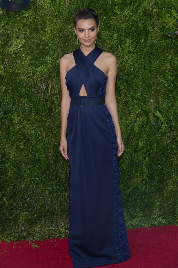 Emily stunning in navy.